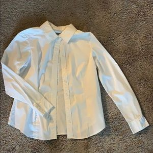 New York & Company Fitted White Oxford Shirt
